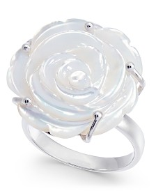 Mother of Pearl Rose Statement Ring in Sterling Silver