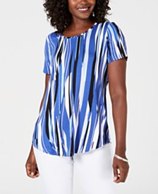 JM Collection Petite Printed Printed Top, Created for Macy's