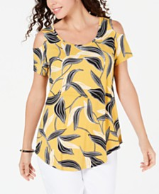 JM Collection Printed Cold-Shoulder T-Shirt, Created for Macy's