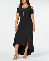 c21c098c5b75 NY Collection Plus Size Cold-Shoulder High-Low Necklace Dress