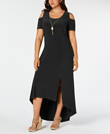 NY Collection Plus Size Cold-Shoulder High-Low Necklace Dress