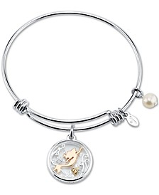 Tri-tone Crystal Little Mermaid Glass Shaker Adjustable Bangle Bracelet in Stainless Steel for Unwritten Silver Plated Charms
