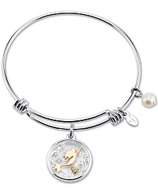 Disney's Tri-tone Crystal Little Mermaid Glass Shaker Adjustable Bangle Bracelet in Stainless Steel for Unwritten