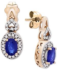 Sapphire (5/8 ct. t.w.) & Diamond (1/4) Drop Earrings in 14k Rose Gold