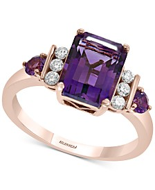 EFFY® Amethyst (2-1/3 ct. t.w.) & Diamond (1/8 ct. t.w.) Ring in 14k Rose Gold