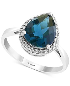 EFFY® Blue Topaz (2-7/8 ct. t.w.) & Diamond (1/10 ct. t.w.) Ring in 14k White Gold