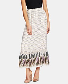 CeCe Paisley-Print Maxi Skirt