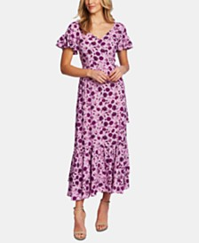 CeCe Short-Sleeve Floral-Print Maxi Dress