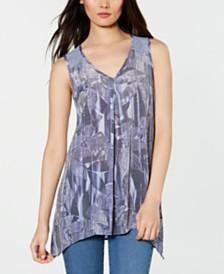 NY Collection Petite Lace-Back Handkerchief-Hem Top