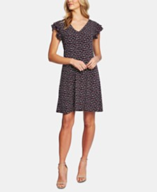 CeCe Flutter-Sleeve Floral-Print Dress