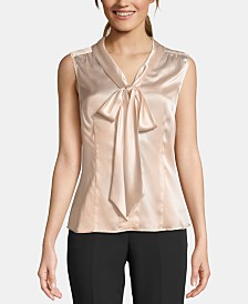 Tahari ASL Tie-Neck Sleeveless Blouse