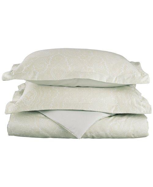 Superior 600 Thread Count Cotton Blend Italian Paisley Duvet Set - Full/Queen