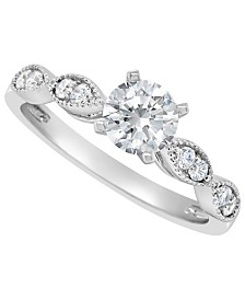 Certified Round Diamond Engagement Ring (7/8 ct. t.w.) in 14k White Gold, Rose Gold, or Yellow Gold