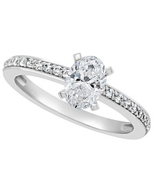 Certified Oval Diamond Engagement Ring (1 ct. t.w.) in 14k White Gold, Rose Gold, or Yellow Gold