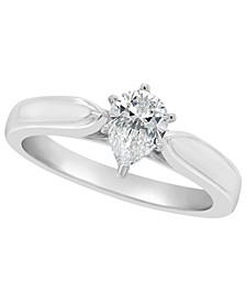 Certified Pear Shape Diamond Solitaire Engagement Ring (1/2 c.t. t.w.) in 14k White Gold, Rose Gold, or Yellow Gold