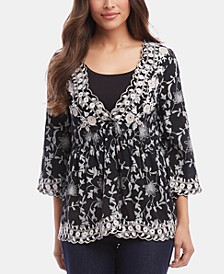 Three-Quarter-Sleeve Lace Top