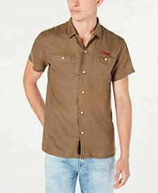 Deus Ex Machina Men's Dean Woven Linen Logo Short Sleeve Shirt