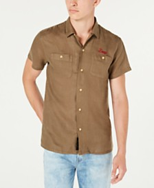 Deus Ex Machina Men's Dean Woven Linen Logo Short Sleeve Shirt