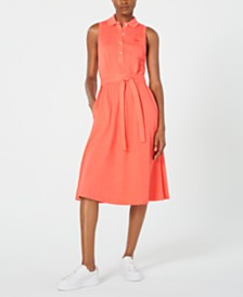Lacoste Belted Sleeveless Shirtdress