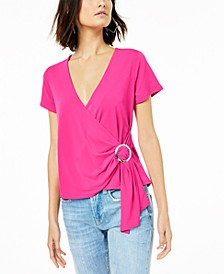 Grommet Faux-Wrap Top, Created for Macy's