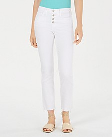 Button-Fly Raw-Hem Straight-Leg Jeans