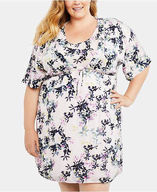 Maternity Plus Size Printed Nursing Dress