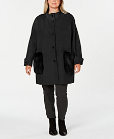 Plus Size Faux-Fur-Pocket Walker Coat
