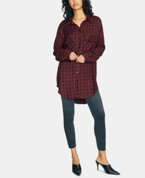 Sanctuary Tops PLAID BUTTON-DOWN TUNIC