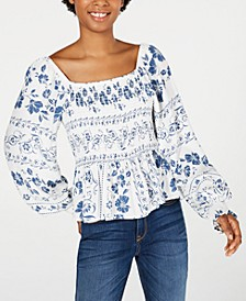 Juniors' Square-Neck Smocked Top, Created for Macy's