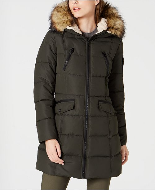 Ladies Parka With Fur Trimmed Hood