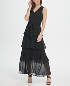 DKNY Tiered Chiffon Maxi Dress