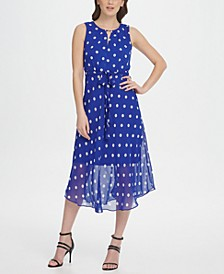 Keyhole Polka-Dot Printed Chiffon Midi Dress
