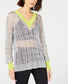 Bar III Metallic Pullover Sweater, Created for Macy's