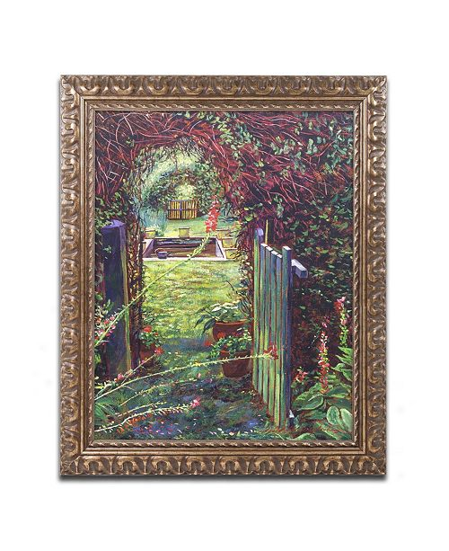 "Trademark Global David Lloyd Glover 'Wicket Garden Gate' Ornate Framed Art - 11"" x 14"""