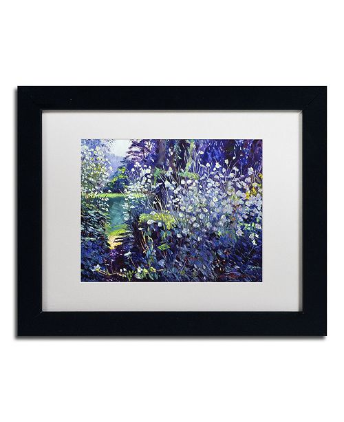 "Trademark Global David Lloyd Glover 'Tangled White Flowers' Matted Framed Art - 11"" x 14"""