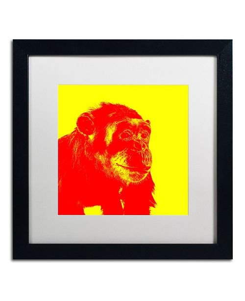"""Trademark Global Claire Doherty 'Chimp No 4' Matted Framed Art - 16"""" x 16"""""""