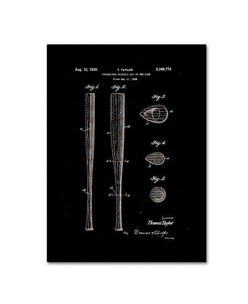 "Trademark Global Claire Doherty 'Baseball Bat Patent 1939 Black' Canvas Art - 18"" x 24"""