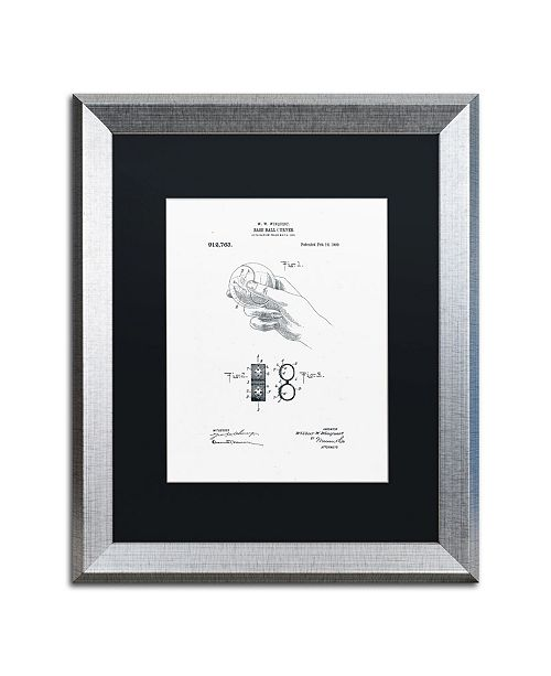 "Trademark Global Claire Doherty 'Baseball Curver Patent 1909 White' Matted Framed Art - 16"" x 20"""