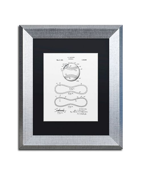 """Trademark Global Claire Doherty 'Baseball Patent 1928 White' Matted Framed Art - 11"""" x 14"""""""