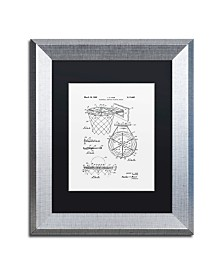 """Claire Doherty 'Basketball Hoop Patent 1965 White' Matted Framed Art - 11"""" x 14"""""""