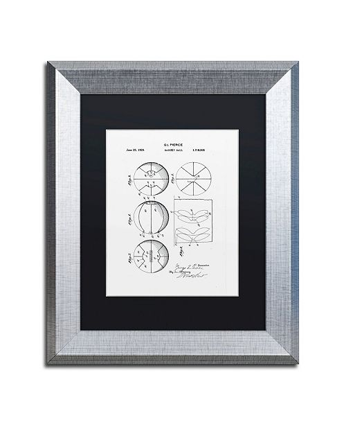 """Trademark Global Claire Doherty 'Basketball Patent 1929 White' Matted Framed Art - 11"""" x 14"""""""