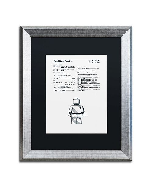 """Trademark Global Claire Doherty 'Lego Man Patent 1979 White' Matted Framed Art - 16"""" x 20"""""""
