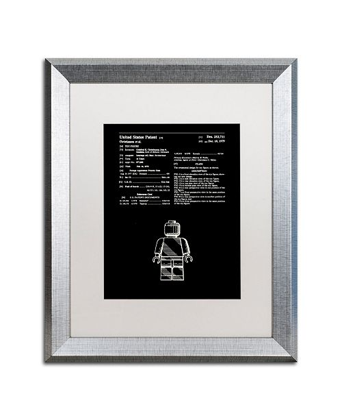 "Trademark Global Claire Doherty 'Lego Man Patent 1979 Black' Matted Framed Art - 16"" x 20"""