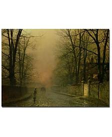 "John Atkinson Grimshaw 'Where the paler moonbeams linger' Canvas Art - 32"" x 22"""