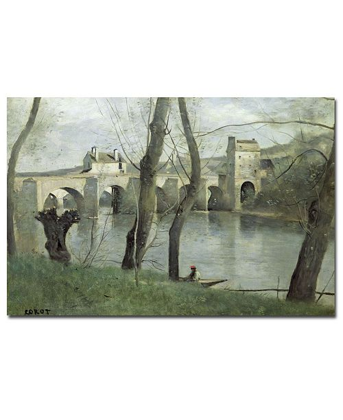 "Trademark Global Jean Baptiste Corot 'The Bridge Mantes' Canvas Art - 32"" x 22"""