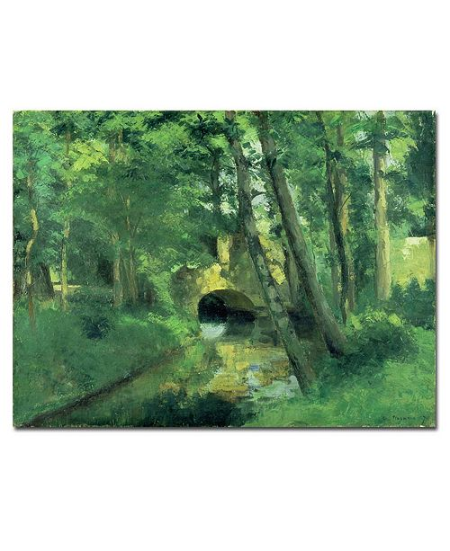 "Trademark Global Camille Pissarro 'The Little Bridge - Pontoise - 1875' Canvas Art - 14"" x 19"""