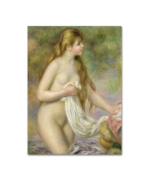 "Trademark Global Pierre Auguste Renoir 'Bather with Long Hair C.1895' Canvas Art - 24"" x 14"""