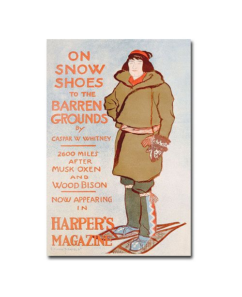 "Trademark Global Caspar Whitney 'On Snow Shoes 1899' Canvas Art - 47"" x 30"""
