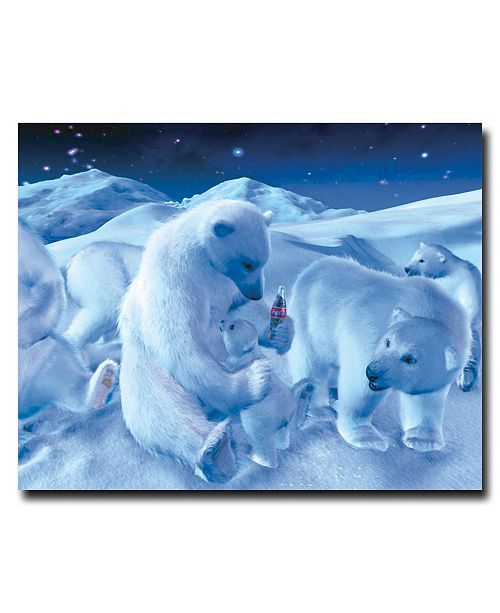 "Trademark Global 'Coke Polar Bear Sitting with Cub and Bottle' Canvas Art - 36"" x 24"""