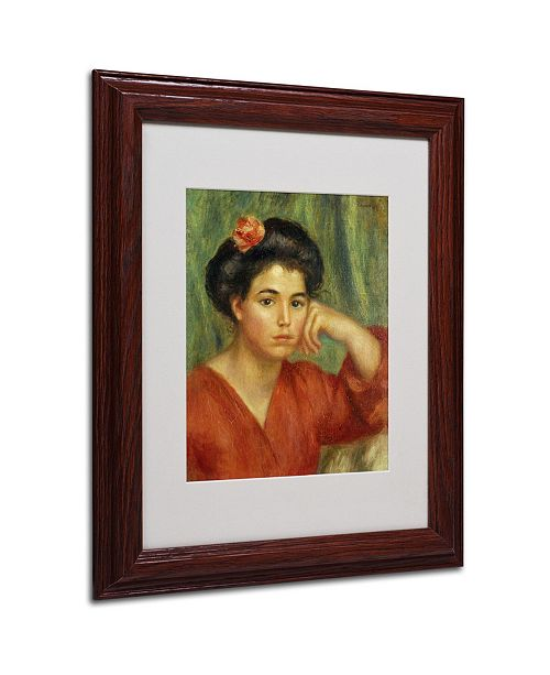 """Trademark Global Pierre Auguste Renoir 'Young Woman With a Rose' Matted Framed Art - 14"""" x 11"""""""